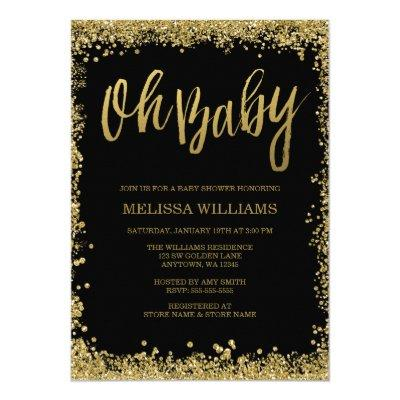 Oh Baby Black Gold Glitter Baby Shower Invitations