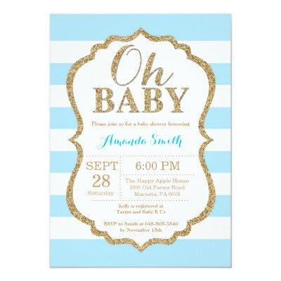 Oh Baby Blue and Gold Baby Shower Invitation