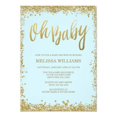 Oh Baby Blue Gold Glitter Baby Shower Invitations