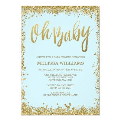 Oh Baby Blue Gold Glitter Baby Shower Invitation