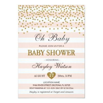 Oh Baby Blush Pink Gold Confettti Baby Girl Shower Invitations