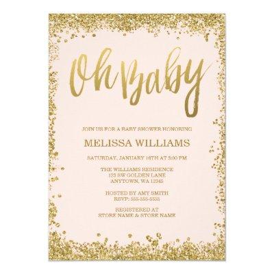 Oh Baby Blush Pink Gold Glitter Invitations