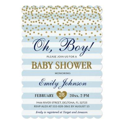Oh Baby Boy Blue Gold Baby Shower Invitation