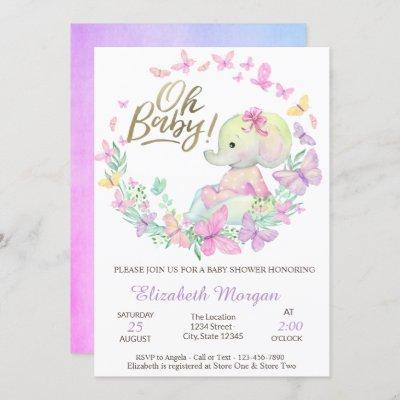 Oh Baby Butterflies Elephant Baby Shower  Invitation