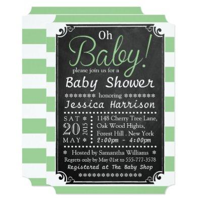 Oh Baby! Chalkboard & Green Stripe Baby Shower Invitation