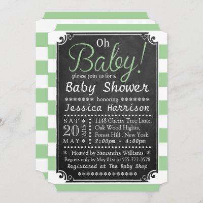 Oh Baby! Chalkboard & Green Stripe Baby Shower Invitation