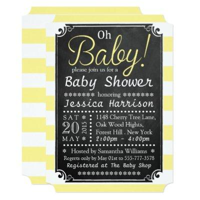 Oh Baby! Chalkboard & Yellow Stripe Baby Shower Invitation