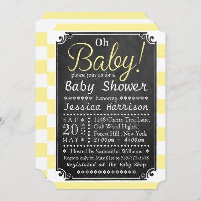Oh Baby! Chalkboard & Yellow Stripe Baby Shower Invitation