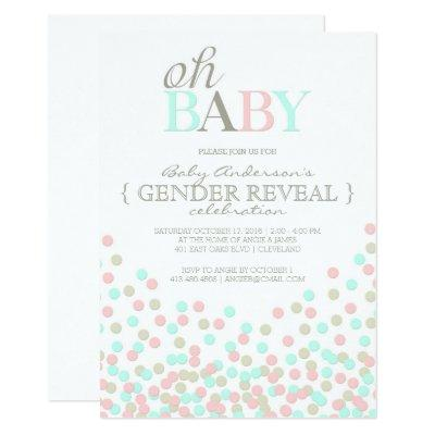Oh Baby Confetti Gender Reveal Party | Pink Blue Invitations