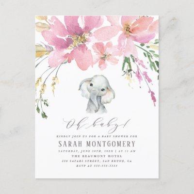Oh Baby Elegant Pink Floral Elephant Baby Shower Invitation Postcard