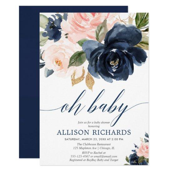 Oh baby floral pink and navy blue girl baby shower invitation