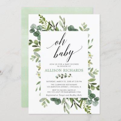 Oh baby Gender neutral greenery baby shower Invitation