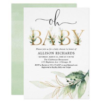 Oh baby gender neutral greenery baby shower invitation