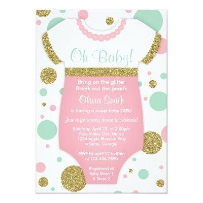 Oh Baby Girl, , Faux Gold Invitations