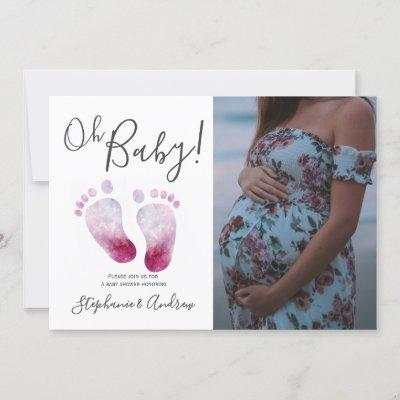 Oh Baby Girl Baby Shower Photo Invitation