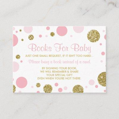 Oh Baby Girl, Bring A Book Card, Faux Glitter Enclosure Card