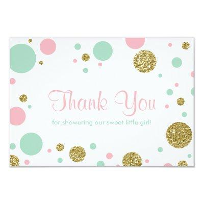 Oh Baby Girl, Thank You Invitations, Faux Glitter Invitations