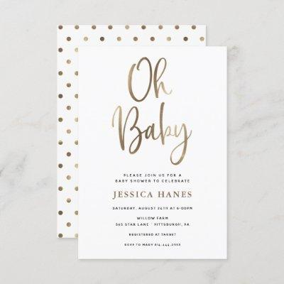 Oh Baby Gold Foil Baby Shower Invitation