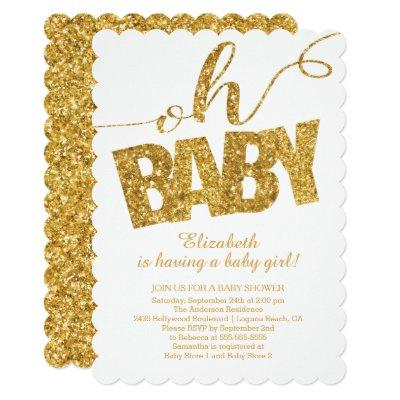 Oh Baby! Gold Glitter Invitations