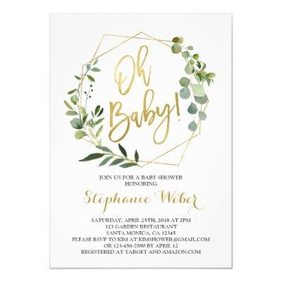 Oh Baby greenery and gold baby shower Invitation