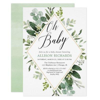 Oh baby Greenery gold gender neutral baby shower Invitations