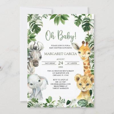 Oh Baby Greenery Jungle Safari Animals Baby Shower Invitation