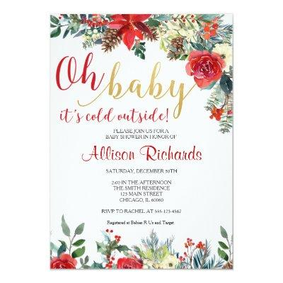 Oh baby it's cold outside holiday gender neutral invitation