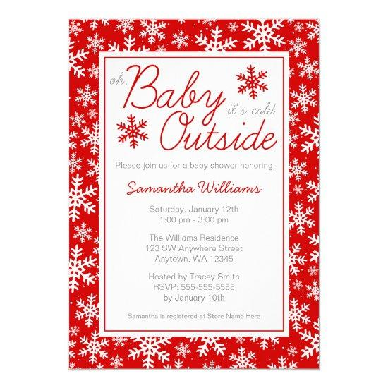 Cold Outside Red Baby Shower Card
