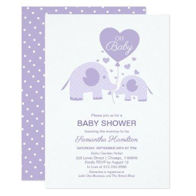 Oh Baby Lavender Cute Elephant Baby Shower Invitation
