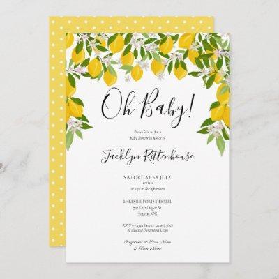 Oh Baby Lemon Blossom Greenery Baby Shower Invitation