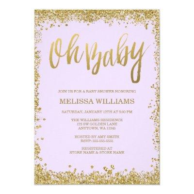 Oh Baby Lilac Purple Gold Glitter Baby Shower Invitations