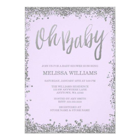 Oh Baby Lilac Purple Silver Glitter Baby Shower Card Baby Shower
