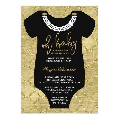 Oh Baby, Little Lady Baby Shower Invite, Faux Gold Invitation
