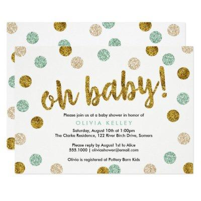 Oh Baby Mint and Gold Baby Shower Invitations