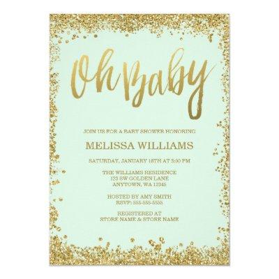 Oh Baby Mint Gold Glitter Baby Shower Invitation