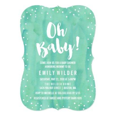 Oh Baby Mint Green Watercolor Invitations