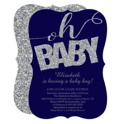Oh Baby Modern Glitter Boys Baby Shower Invitations