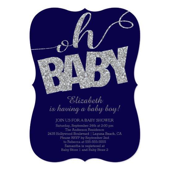 Oh Baby Modern Glitter Boys Baby Shower Invitations