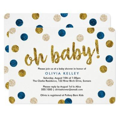 Oh Baby Navy and Gold Invitations