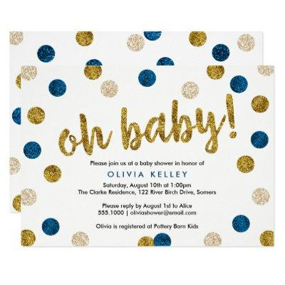 Oh Baby Navy and Gold Baby Shower Invitations