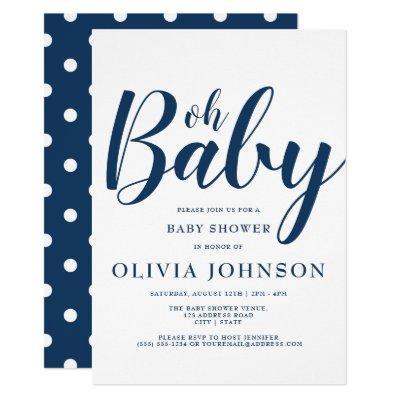 Oh Baby - Navy Blue Polka Dot Baby Shower Invitation