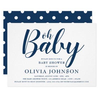 Oh Baby - Navy Blue Polka Dot Baby Shower Invitations