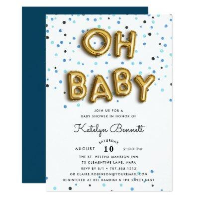 Oh Baby | Navy & Gold Baby Shower Invitations