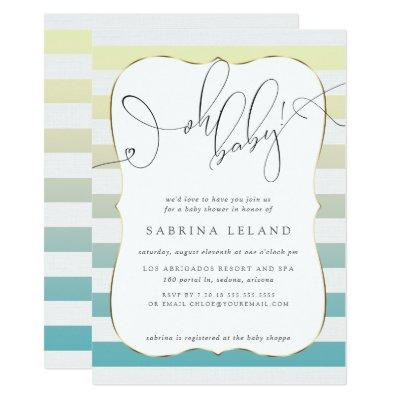 OH Baby Ombré Yellow to Blue Stripes Invitations