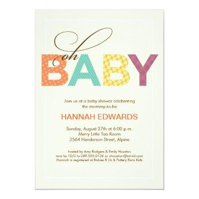 Oh Baby Patterned Baby Shower Invitations in Orange