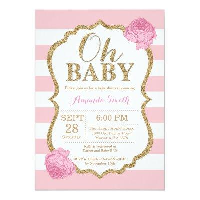 Oh Baby Pink and Gold Baby Shower Invitations