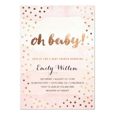 OH BABY! Pink Watercolor & Gold Foil