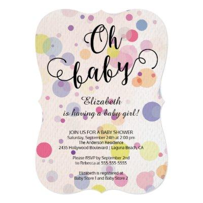 Oh Baby! Polka Dots Neutral Baby Shower Invitations