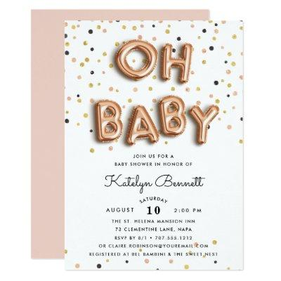 Oh Baby | Rose Gold Baby Shower Invitations