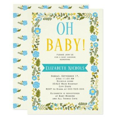Oh Baby shower aqua and yellow floral border Invitations